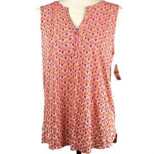 Kim Rogers Womens Sz Small Top Blouse Orange